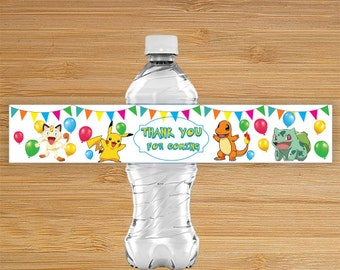 Pokemon Bottle Label * Drink Label * Digital file, Printable, Birthday, party, High resolution, 300dpi, Pokemon Go, Instant Download