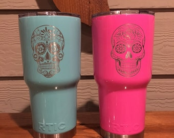 Laser Engraved Sugar Skull Powder Coated NEW 30oz TIC Tumbler | Day of the Dead Special | Personalized RTIC Tumbler | Similar to Yeti