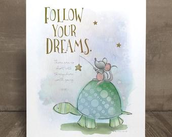 Children's turtle art print, nursery art, kid character trait, patience