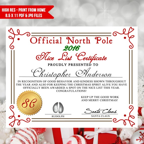 Printable nice list certificate santa letter nice list diy for Nice list santa letter