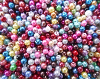 Assorted Multi-Coloured Acrylic Pearl Beads. Choice of Size.