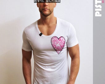 "Pistol Boutique Mens ""ROSES SKETCH HEART"" White Scoop neck fashion Tshirt"