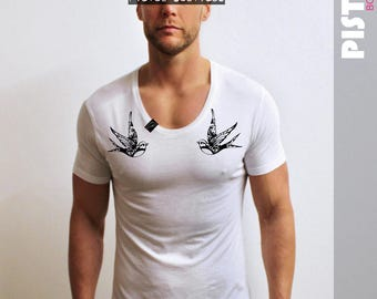 "Pistol Boutique Mens ""CHEST TATTOO SWALLOWS"" White Scoop neck fashion Tshirt"