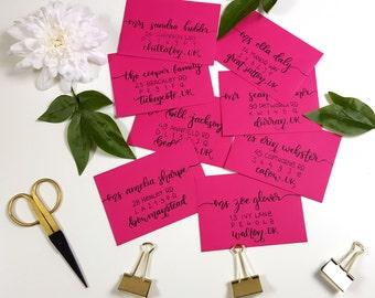 Modern calligraphy hand lettered wedding envelopes