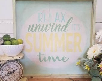Hand Painted Relax, unwind, it's summertime. Add some summer fun to any space! Size 25x25