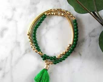 Green and Gold Beaded Tassel Bracelet/ Boho Bracelet/ Stacking Bracelet