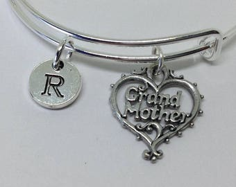 Free Gift Box - Grand Mom Initial Bangle Bracelet Grand Mother Jewelry, Personalized Jewelry Granny