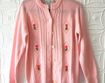 Pink Sweater with Floral Applique