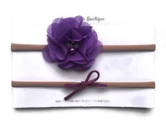 Purple chiffon flower headband - one size - newborn infants toddlers and kids - flower headband