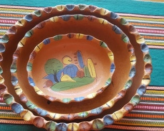 Vintage Nesting Bowls Mexican Hand Painted Tlaqupaque