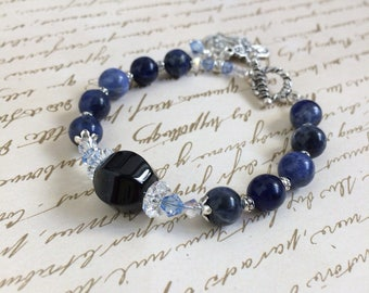 Sodalite and Onyx Gemstone Rosary Bracelet, Christian Jewelry