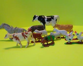 12 Piece Plastic Toy Farm Animal Lot by Britains LTD and Playskool