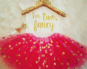 I'm TWO Fancy 2nd Birthday Outfit Girl 2nd Birthday Shirt It's My Birthday Shirt 2 Birthday Outfit 2 CoralGold BirthdayOutfitSecond Birthday