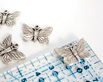 3 pc Butterfly Metal Beads Silver Butterfly Pendant Butterflies Beads Butterfly Charms Metal Butterfly