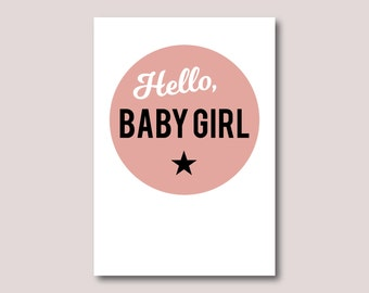 New baby girl card, New born girl card • Hello, baby girl