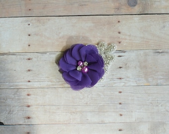Purple Flower Hairclip, Flower Girl Hairclip, Wedding Clip, Bridal Hairclip, Rhinesyine Hairclip, Fascinator Bridesmaid Bridal Shower Baby