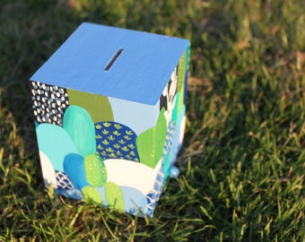 "Piggy bank/Money box ""Blue Forest"" - My Little Painted Boxes"
