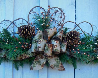 Winter Wreath Swag, Fall Swag Wreath, Christmas Swag, Door Swag, Christmas Wreath, Front Door Swag, Pine Swag, Fireplace Mantle Swag
