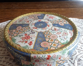 Decorative Floral Design Powder Tin Box Container Made in Holland