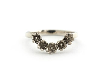 Floral Crescent Stacking Band in Sterling Silver