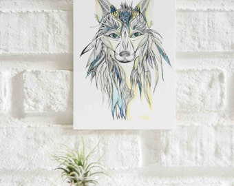 Wolf Illustration Postcard