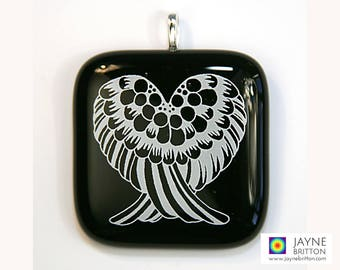 Angel Wings Pendant, white on black glass, angel wings heart, angel wing jewelry, grounding, protective