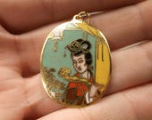 Gorgeous Vintage Gold Tone Cloisonne Enameled Japanese Lady With Fan Pendant 20% OFF Entire Order Code JRS20