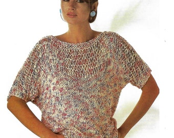 PDF knitting pattern, women's ladies cotton top, retro, chic, instant download