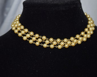 Three Strand Pearl Choker Necklace
