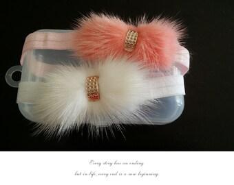Newborn baby girls headband Feather hair accessories  mink fur headband