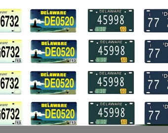 scale model car Delaware license tag plates