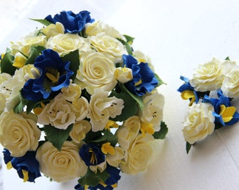 Wedding bouquet + Set of boutonniere & hairclip, Deco Clay flowers, Hydrangea flowers, Handmade Clay bouquet, Roses,Wedding decor