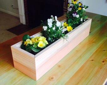 Redwood planter box table centerpiece Modern Style