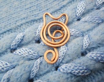 Cat shawl pin, Cat scarf pin, Cat sweater pin, Copper shawl pin, Kitten shawl pin Kitty scarf pin Cat pin copper pin Kitten pin Kitty pin