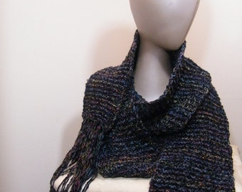 Ladies crochet/ knit scarf multi color with fringe