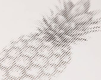 Black white picture: Cut pineapple - super high-quality halftone style