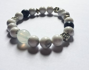 Stone White Gem Stone Beaded Bracelet