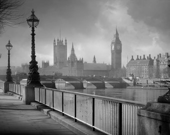 Clearing Fog London, United Kingdom, Thames river, Big ben, Houses of Parliament, black and white, fine art photography, city view,
