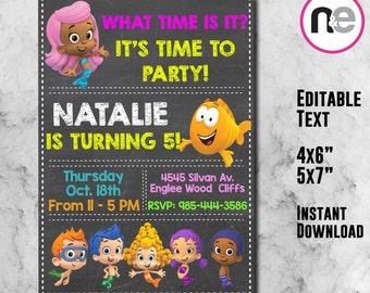 SALE!! Bubble guppies Invitation, bubble guppies, guppies birthday, invitation, guppies invitation, guppies party, editable, digital, invite
