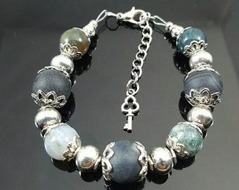 Handmade Jasper & Black Agate Bracelet