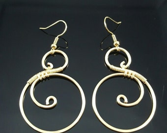 Handmade Gold Wire Wrapped Earrings
