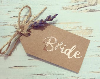 Rose gold foil place cards with real lavender sprig - rustic place card set of 10