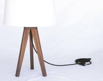 Hardwood Tripod Table Lamp // Mid century modern // Minimalist lighting // Wood lamp // Wedding gift // Anniversary gift