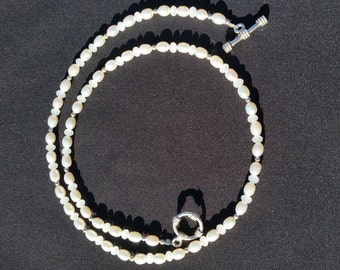 """21"""" White Cultured Pearl Bridal Necklace Matinee Length Handmade Jewelry by Pohaku Gardens"""