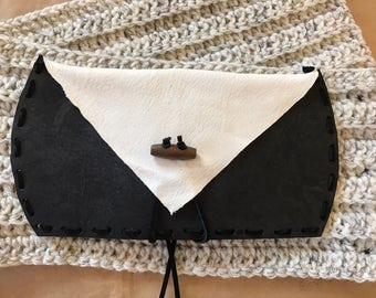 Leather envelope wallet, case, pouch, purse, bill fold, tie closure, wood toggle, handmade, rustic