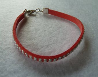 Pink suede band with silver ornamental rivets