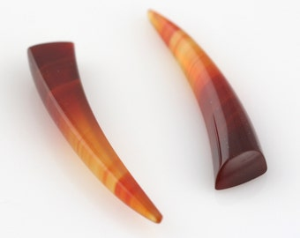 Loose Pair of Indonesian Chalcedony Tusks