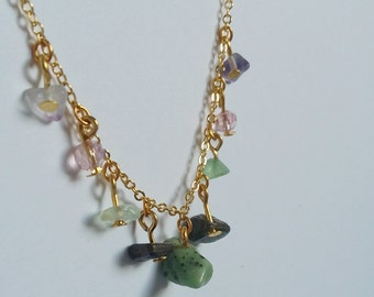 Indian Agate, Laberadorite and Fluorite Gemstone Charm Necklace