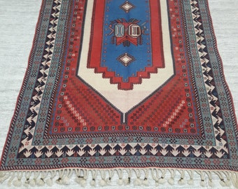 "Area soumak rug,tribal rug,Soumak flatweave rug47""×71"""