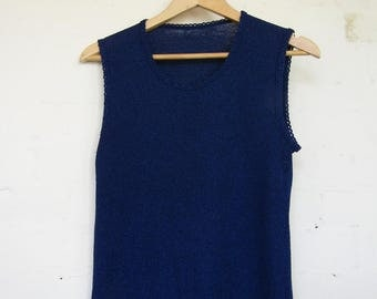 Blue Knitted Tank Top - 10- 12 (approx)